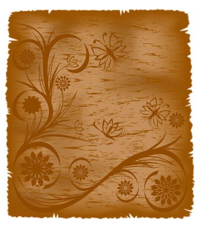 vector illustration of an old paper with floral ornament