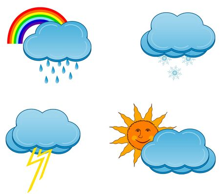 illustration of a weather icons set Stock Vector - 7616312