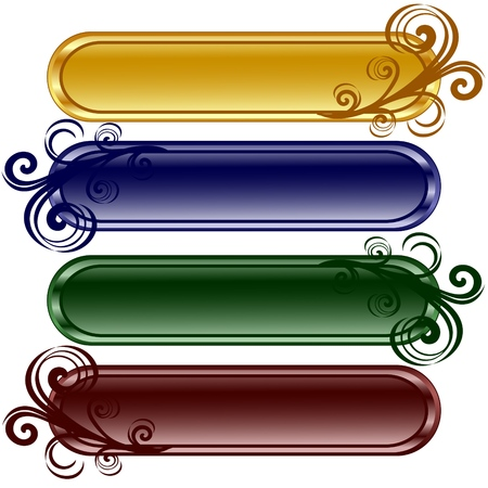 illustratie van de vier langwerpige glanzende knoppen met ornament