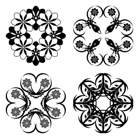 illustration of a set of floral ornament  Stock Vector - 7671388
