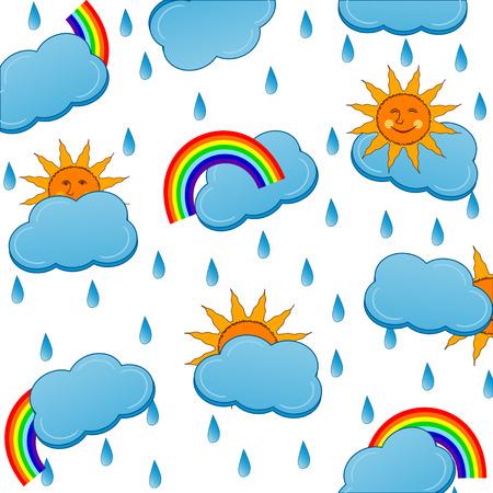 rainy season:  illustration of a weather icons pattern