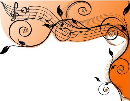 pentagrama musical: Fondo de m�sica con notas y flores. Ilustraci�n