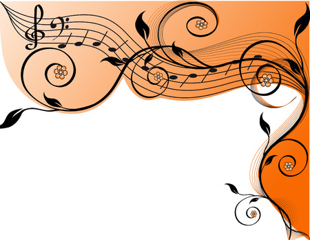 musical instrument parts: Music background with notes and flowers.  illustration  Illustration