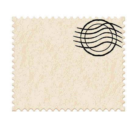 old envelope:   illustration of a  post stamp on white background