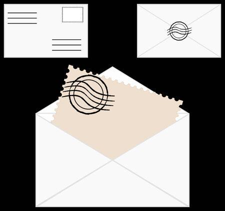 предмет коллекционирования:   illustration of a set of blank envelopes with post stamp on black background