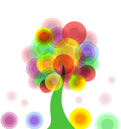 illustration of an abstract colorful tree