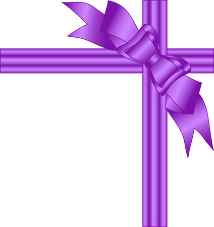 festive background: illustration of a purple bow isolated on white background