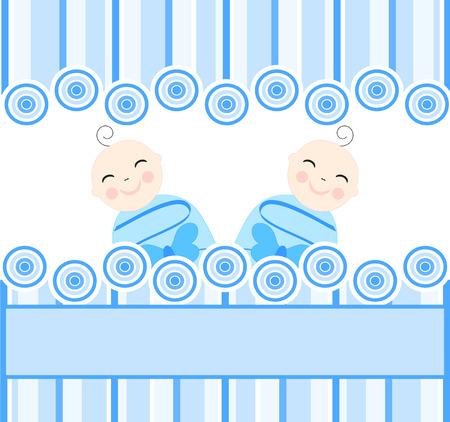 illustratie van de tweeling jongens op blauwe gestreepte achtergrond  Stock Illustratie