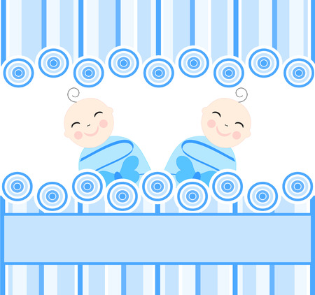 baby boy birth: illustration of the twins boys on blue striped background