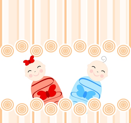 illustration of the twins on tan striped background 向量圖像