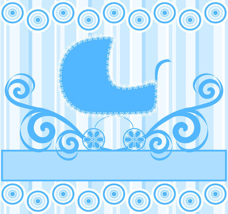 illustration of a cute baby boy stroller on blue striped background