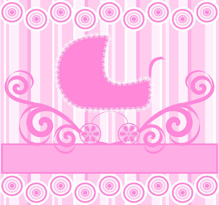 illustration of a cute baby girl stroller on pink striped background Vector