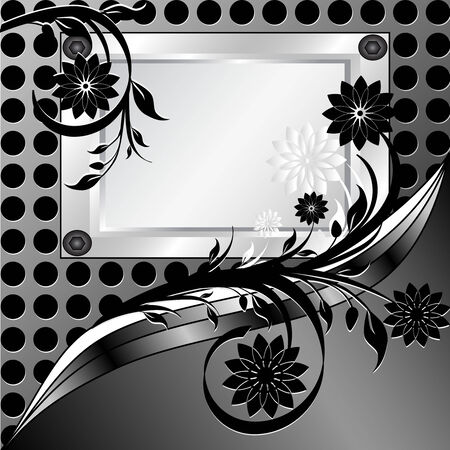 simple border:  illustration of a  silver frame with ornament on metal texture made with circles Illustration