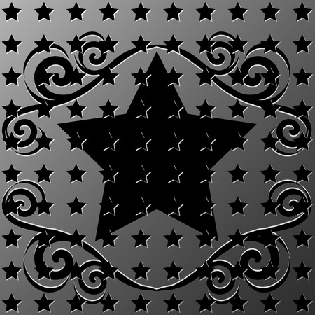 illustration of a metallic stars texture with ornament frame Vector