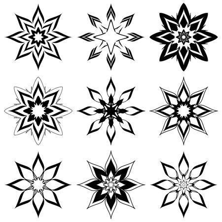 white winter: vector illustration of the abstract flowers set for design. Illustration