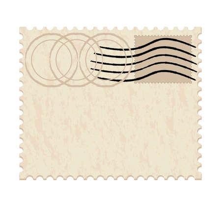 old envelope: vector illustration of a blank grunge post stamp on white background Illustration