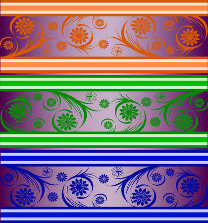 vector illustration of a set of striped floral banners Vector