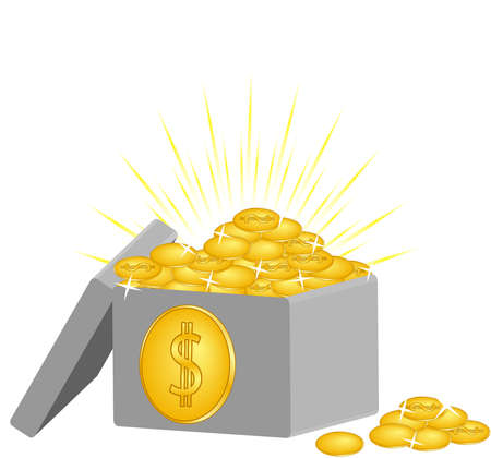 vector illustration of a box with the coins isolated on white background Ilustracja