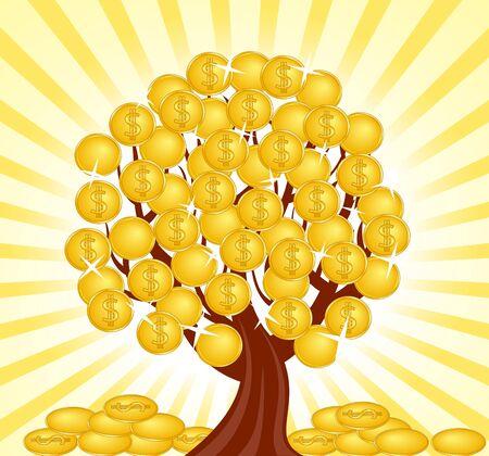us coin: ilustraci�n vectorial de un �rbol de dinero con monedas.