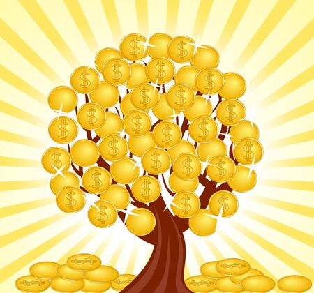currency converter: vector illustration of a money tree with coins.