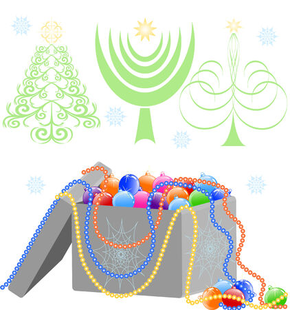 illustration of a box with the Christmas tree decorations isolated on white background Çizim