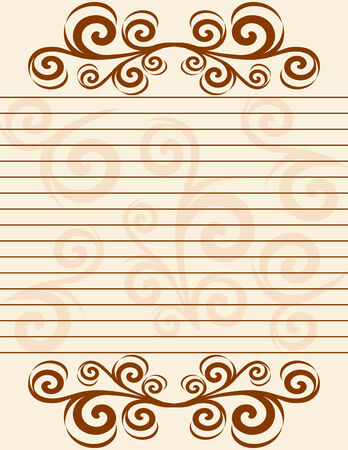 illustration of a striped sheet of paper with  decorate  border.