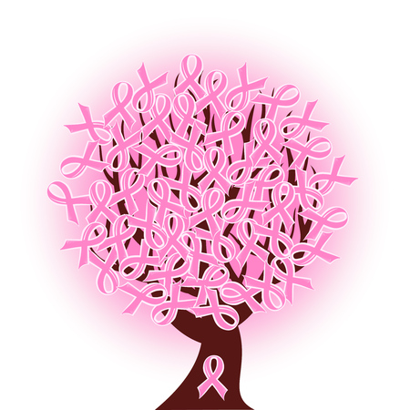 cancer ribbon:  illustration of a breast cancer pink ribbon tree