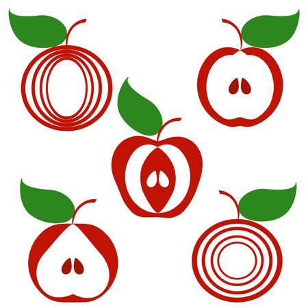 illustration of a set of apples isolated on white background.  can be used as logo