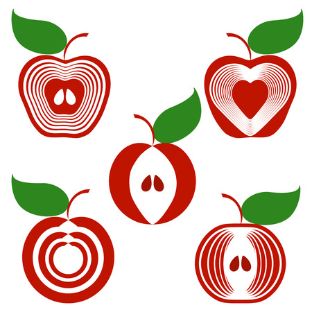 stylize:   illustration of a set of apples isolated on white background.  can be used as logo Illustration