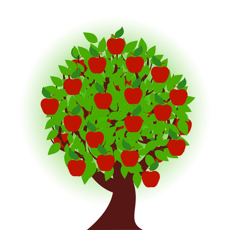 vector illustration of an apple tree on white background Vectores