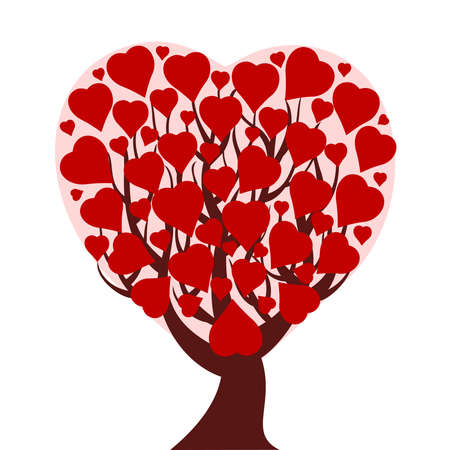 vector illustration of a heart tree isolated on white background Stock Vector - 8429317