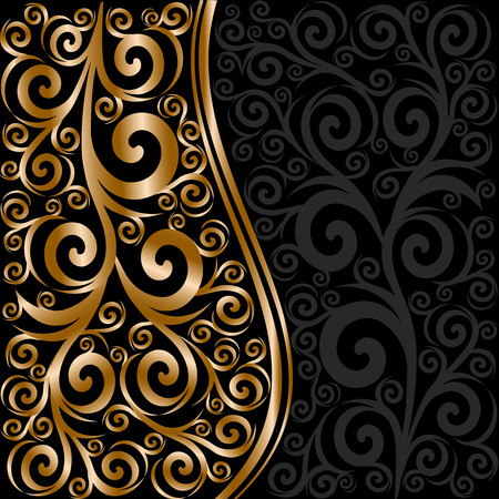 vector illustration of an abstract floral ornament with waves Banco de Imagens - 8429318