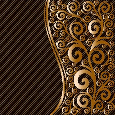 縞模様の背景に波と抽象的な花飾りのベクトル イラスト