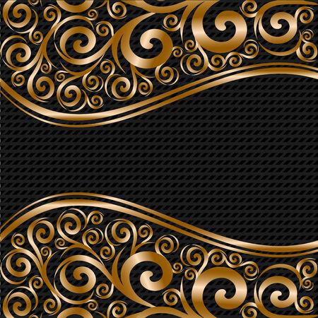 ornate gold frame: Ilustraci�n de vector de un adorno floral abstracto con ondas