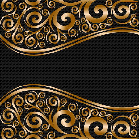 gold floral: vector illustration of an abstract floral ornament with waves