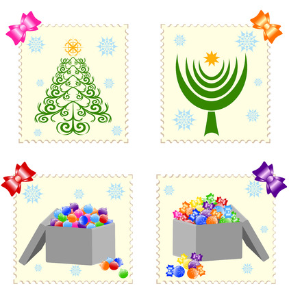 vector illustration of a Christmass stamps isolated on white background. Vector