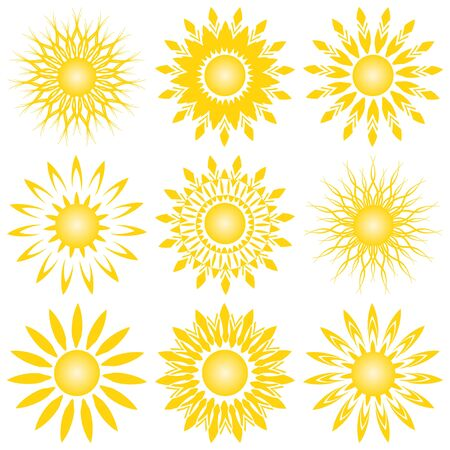 vector illustration of a set of sun