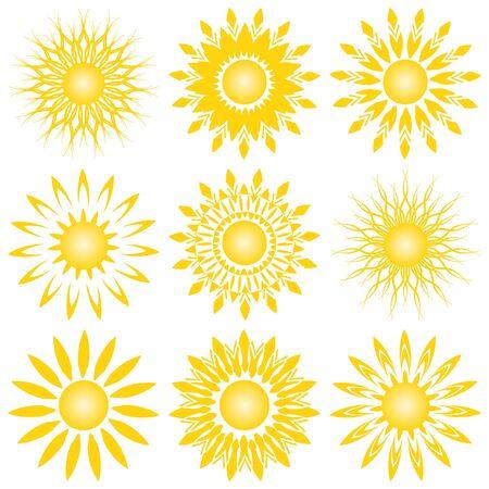 sun vector: vector illustration of a set of sun