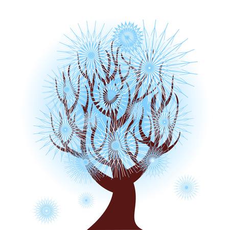 冬の木のベクトル図  イラスト・ベクター素材