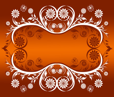 illustration of a floral ornament frame with butterflies.
