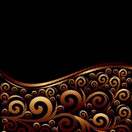 illustration of an abstract striped ornament with waves Illustration