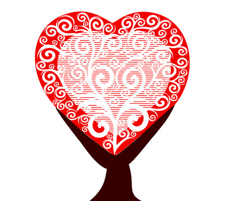 vector illustration of a heart tree isolated on white background Stock Vector - 8542953