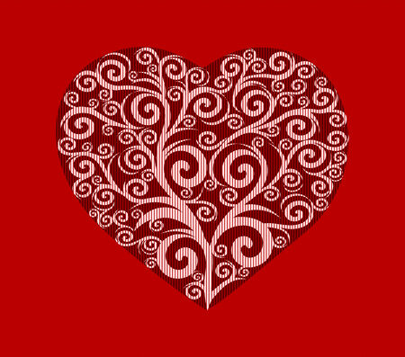 vector illustration of a stylish heart. Valentine's Day card.