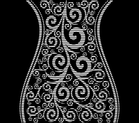 vector illustration of an abstract striped ornament with waves Illustration