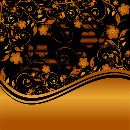 golden floral ornament with striped silhouette Illustration