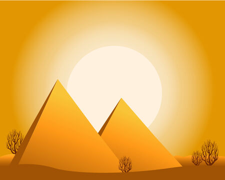 a desert with sun, pyramids, bushes. 向量圖像