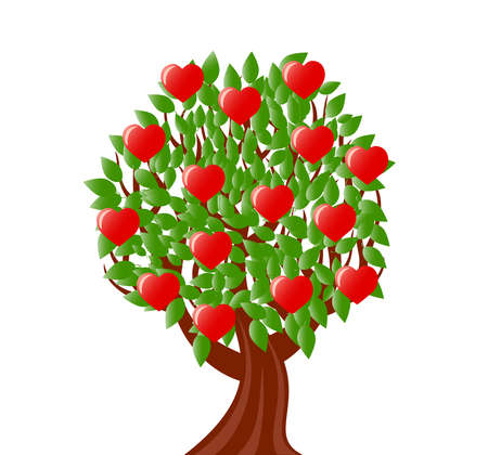 vector illustration of a tree with heart. valentine's day theme Stock Vector - 8669432