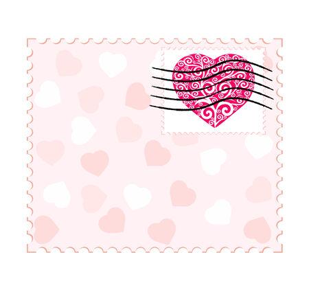 postmark: valentine stamp Illustration