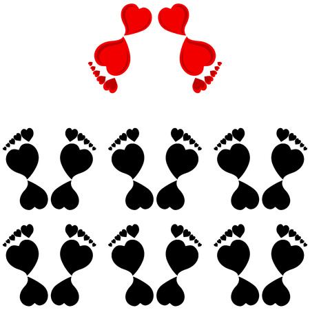 illustration of the human footprints made with the hearts.  concept - Team