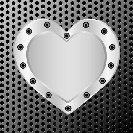 illustration of a silver heart on metal background Illustration